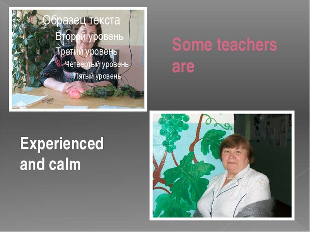 Some teachers are Experienced and calm