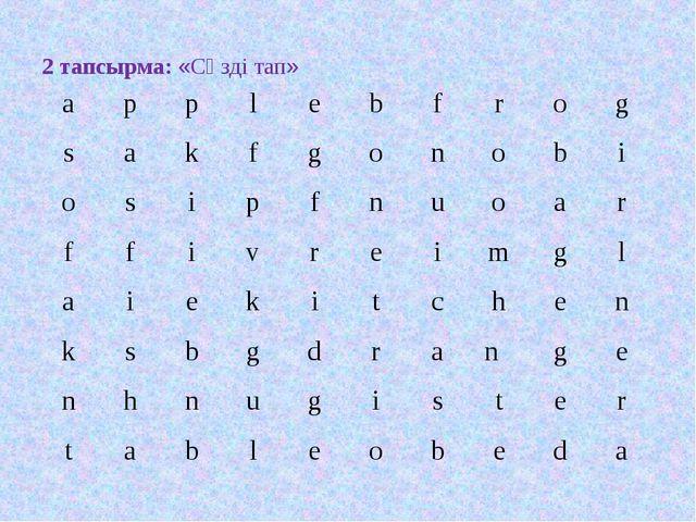 2 тапсырма: «Сөзді тап» applebfrog sakfgonobi osipfnu...