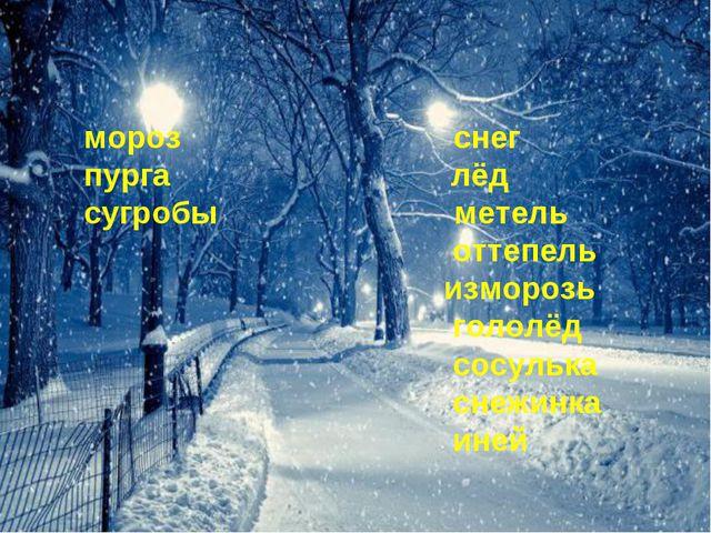 мороз снег пурга лёд сугробы метель оттепель изморозь гололёд сосулька снежин...