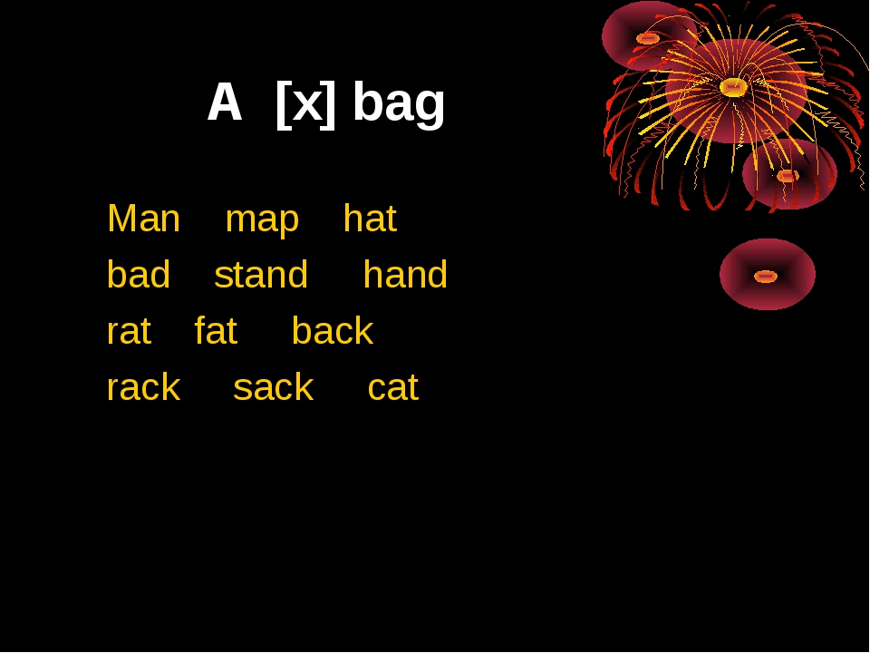 A [x] bag Man map hat bad stand hand rat fat back rack sack cat