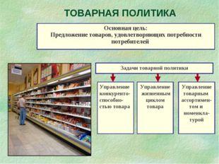 ТОВАРНАЯ ПОЛИТИКА Основная цель: Предложение товаров, удовлетворяющих потребн