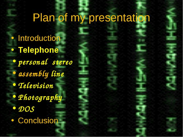 Plan of my presentation Introduction Telephone personal stereo assembly line...