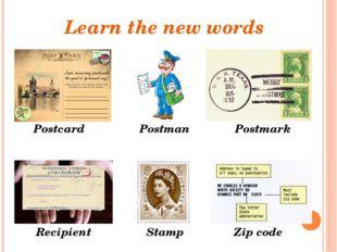 Learn the new words Postman Stamp Recipient Postcard Postmark Zip code