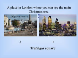 A place in London where you can see the main Christmas tree. A B Trafalgar sq