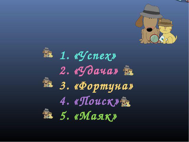 1. «Успех» 2. «Удача» 3. «Фортуна» 4. «Поиск» 5. «Маяк»