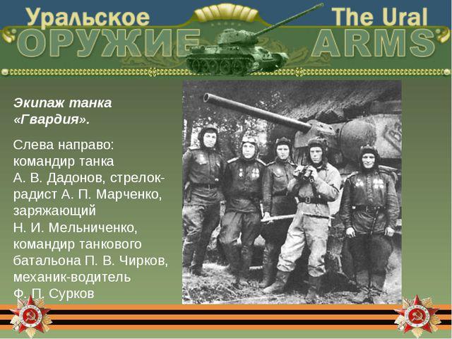 Экипаж танка «Гвардия». Слева направо: командир танка А. В. Дадонов, стрелок-...