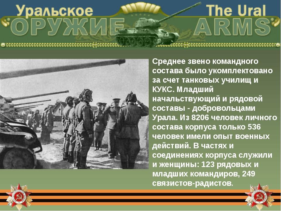 Среднее звено командного состава было укомплектовано за счет танковых училищ...