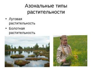 Азональные типы растительности Луговая растительность Болотная растительность