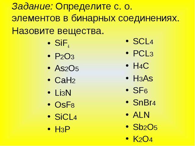 Задание: Определите с. о. элементов в бинарных соединениях. Назовите вещества...