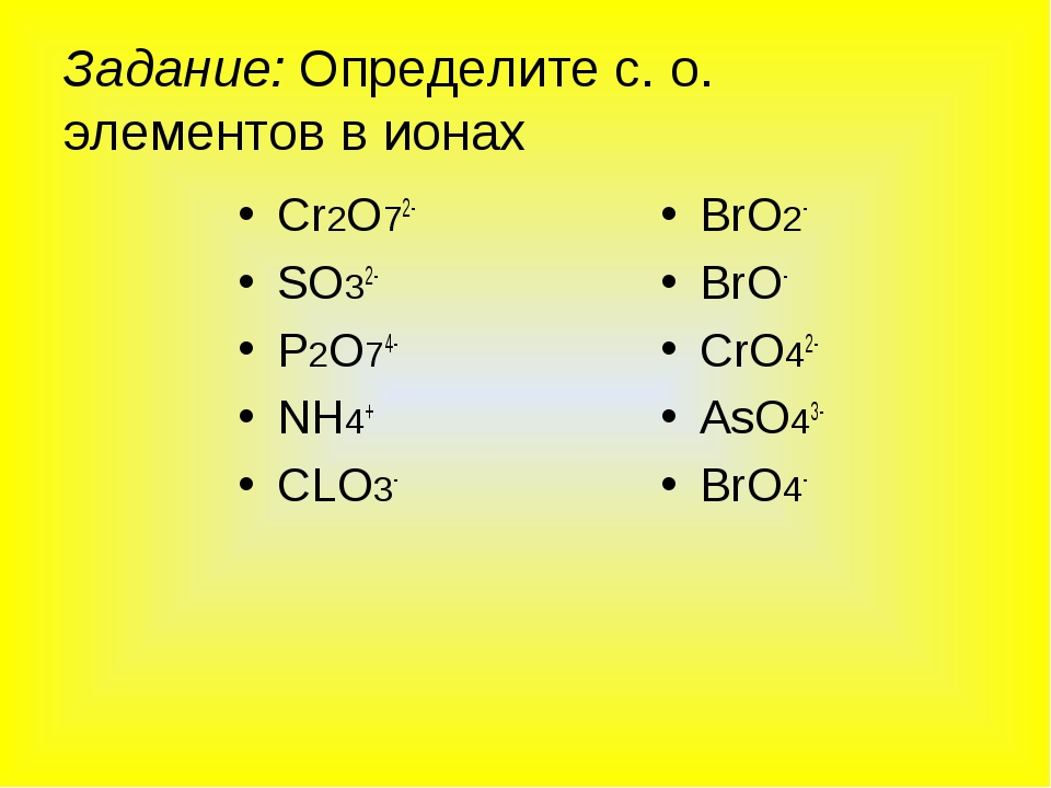 Задание: Определите с. о. элементов в ионах Сr2O72- SO32- P2O74- NH4+ CLO3- B...