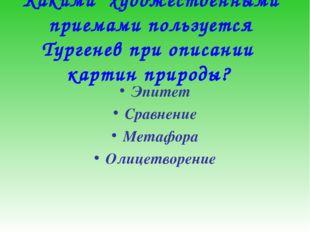 Какими художественными приемами пользуется Тургенев при описании картин при