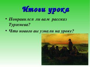 Итоги урока Понравился ли вам рассказ Тургенева? Что нового вы узнали на ур