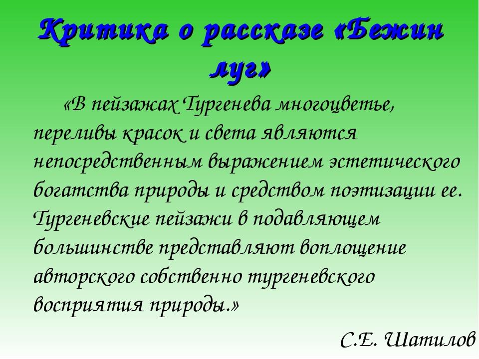 Критика о рассказе «Бежин луг» «В пейзажах Тургенева многоцветье, переливы...