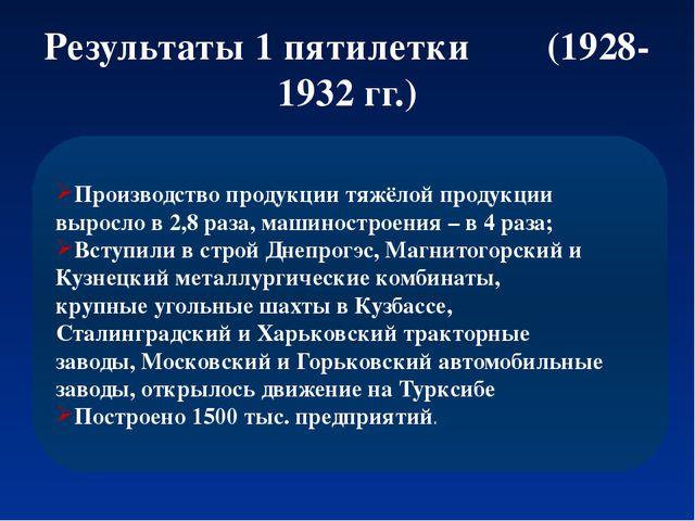 Результаты 1 пятилетки (1928-1932 гг.) Производство продукции тяжёлой продукц...