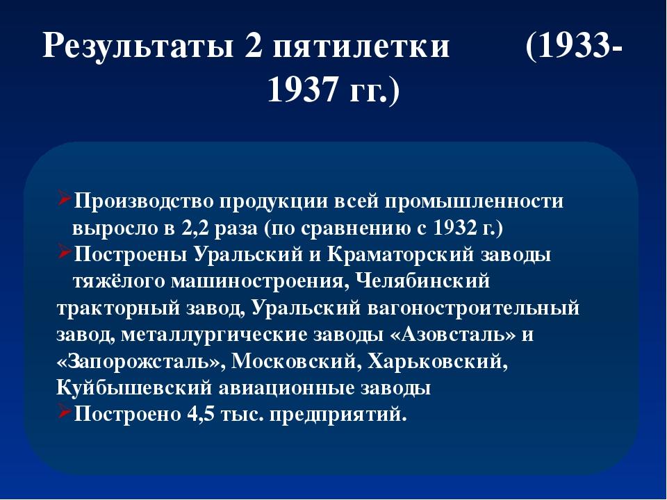 Результаты 2 пятилетки (1933-1937 гг.) Производство продукции всей промышленн...
