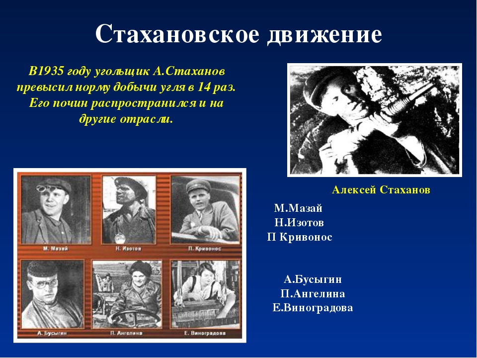 Стахановское движение В1935 году угольщик А.Стаханов превысил норму добычи уг...
