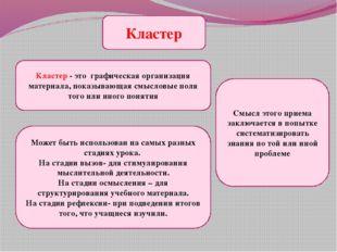 Кластер Кластер - это графическая организация материала, показывающая смыслов