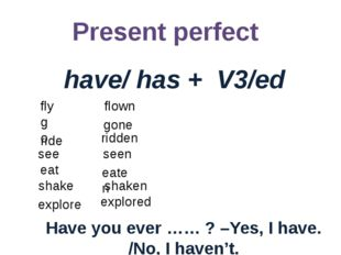 Present perfect have/ has + V3/ed Have you ever …… ? –Yes, I have. /No, I hav