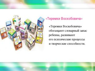 «Теремки Воскобовича» «Теремки Воскобовича» обогащают словарный запас ребенк