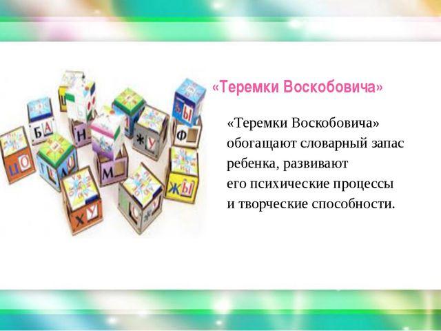 «Теремки Воскобовича» «Теремки Воскобовича» обогащают словарный запас ребенк...