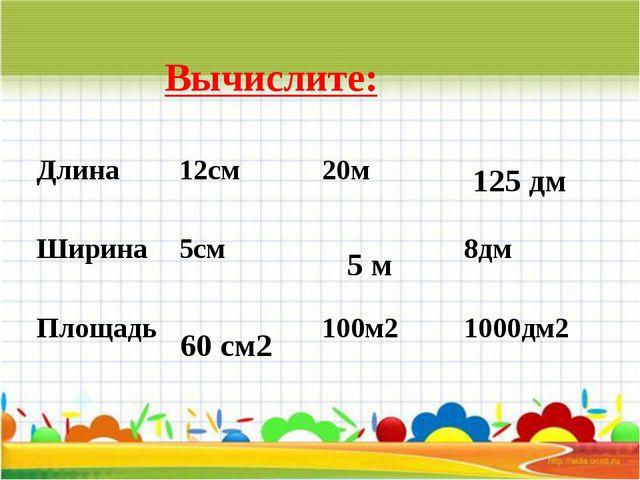 Вычислите: 60 см2 5 м 125 дм Длина 12см 20м  Ширина 5см  8дм Площадь  100м...