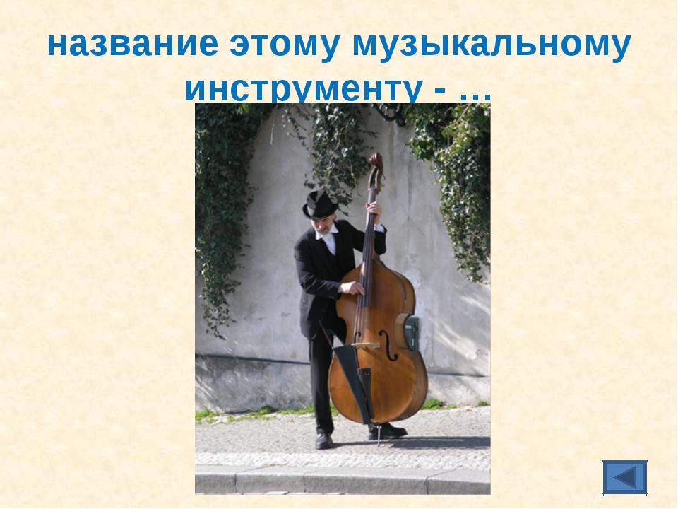 название этому музыкальному инструменту - …