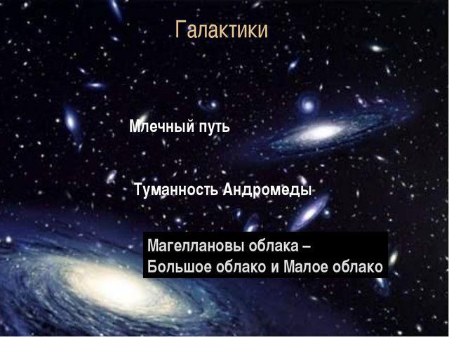 Галактики Млечный путь Туманность Андромеды Магеллановы облака – Большое обла...