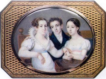 Евгения Андреевна Глинка с сыном Михаилом и дочерью Пелагеей.