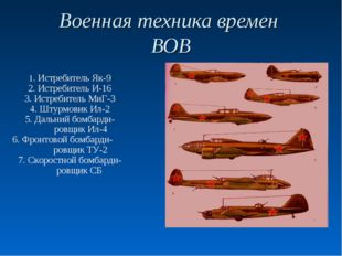 Военная техника времен ВОВ 1. Истребитель Як-9 2. Истребитель И-16 3. Истреби