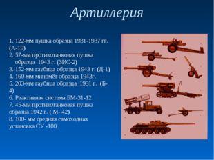Артиллерия 1. 122-мм пушка образца 1931-1937 гг. (А-19) 2. 57-мм противотанко