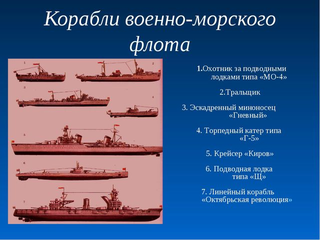 Корабли военно-морского флота 1.Охотник за подводными лодками типа «МО-4» 2.Т...
