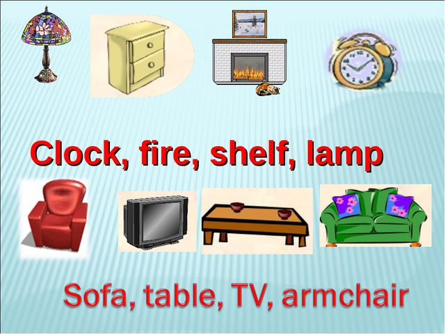 Clock, fire, shelf, lamp