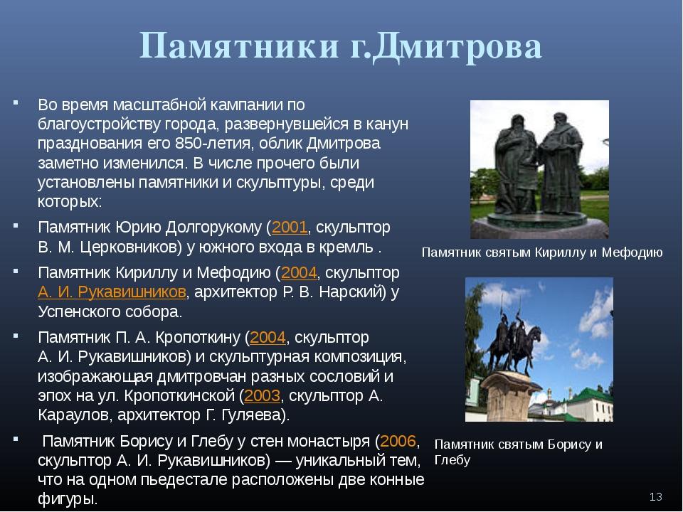 Памятники г.Дмитрова Во время масштабной кампании по благоустройству города,...