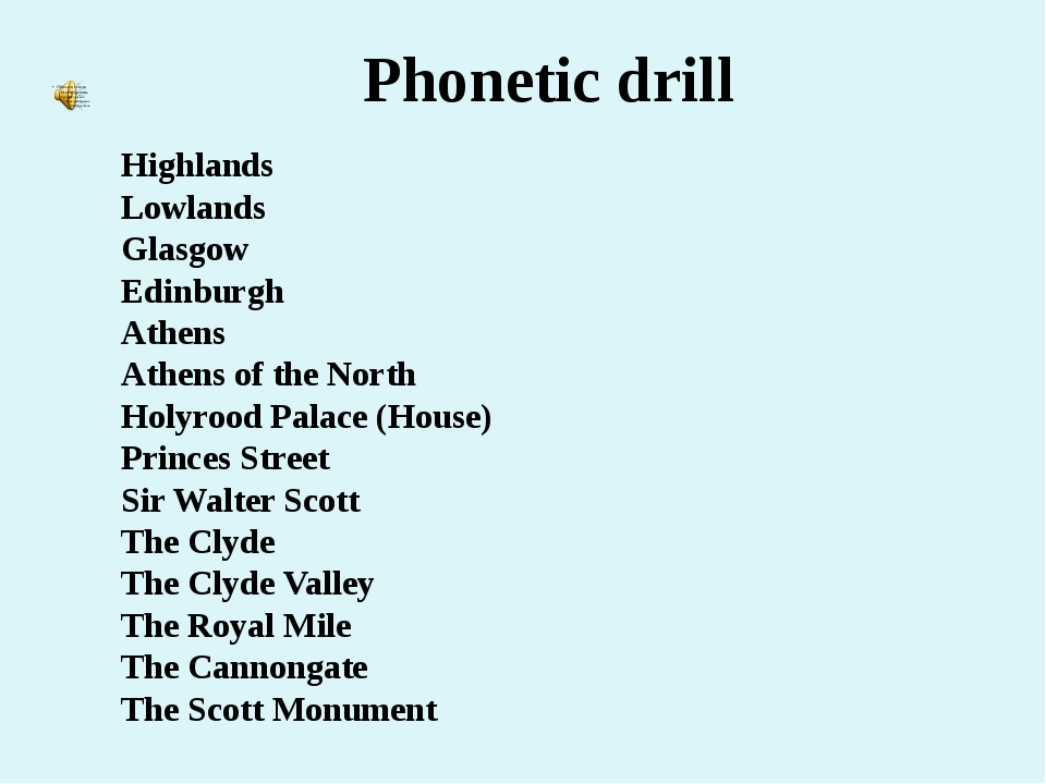 Phonetic drill Highlands Lowlands Glasgow Edinburgh Athens Athens of the Nort...