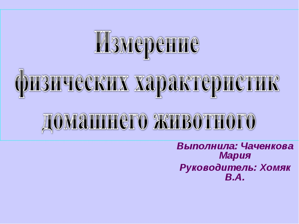 Выполнила: Чаченкова Мария Руководитель: Хомяк В.А.