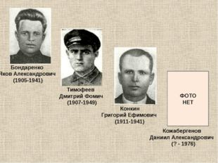 Бондаренко Яков Александрович (1905-1941) Тимофеев Дмитрий Фомич (1907-1949)