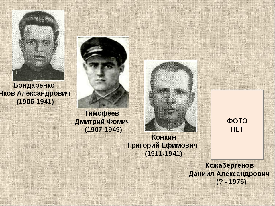 Бондаренко Яков Александрович (1905-1941) Тимофеев Дмитрий Фомич (1907-1949)...