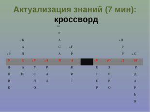 Актуализация знаний (7 мин): кроссворд 5.А  Р 2. Б А
