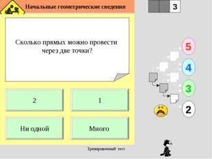 Начальные геометрические сведения Тренировочный тест Сколько прямых можно пр