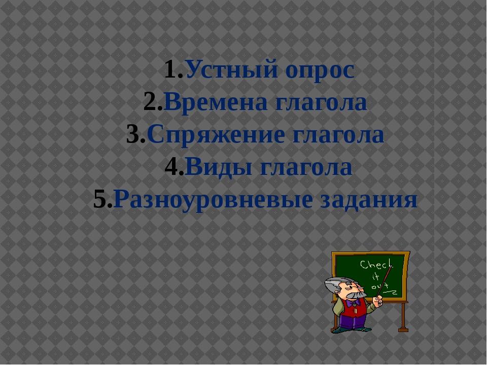 Устный опрос Времена глагола Спряжение глагола Виды глагола Разноуровневые за...