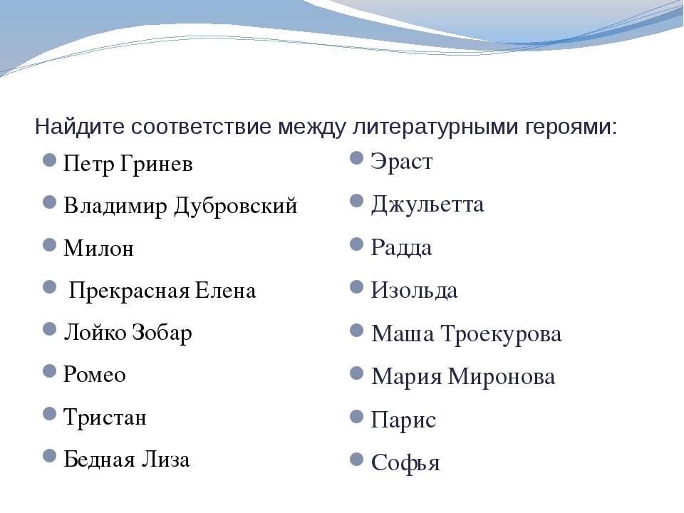 Найдите соответствие между литературными героями: Петр Гринев Владимир Дубров...