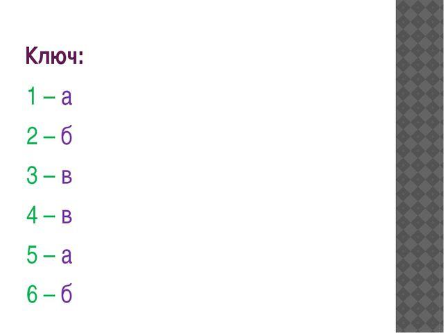 Ключ: 1 – а 2 – б  3 – в 4 – в 5 – а 6 – б