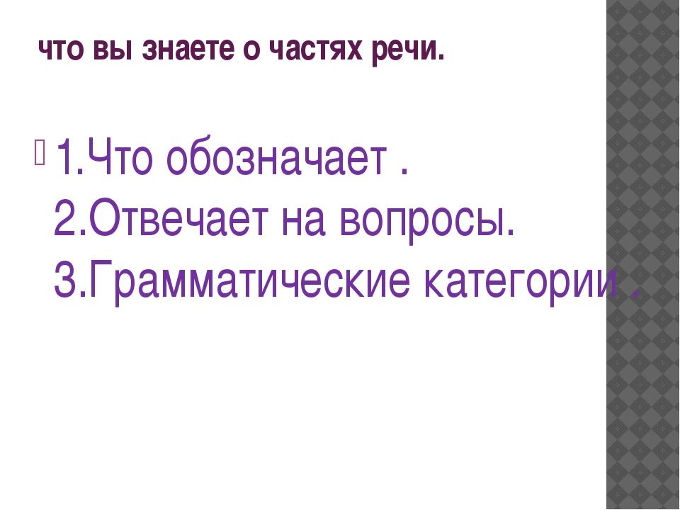 что вы знаете о частях речи. 1.Что обозначает. 2.Отвечает на вопросы. 3.Гра...