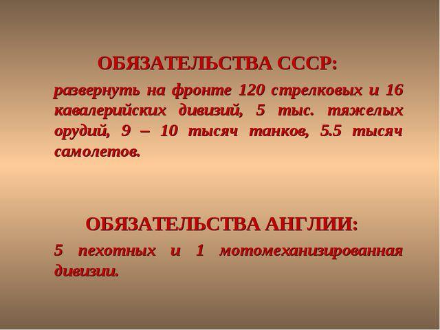 ОБЯЗАТЕЛЬСТВА СССР: развернуть на фронте 120 стрелковых и 16 кавалерийских д...