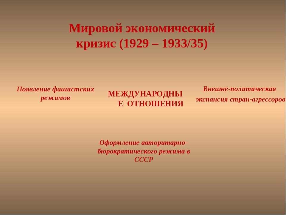 Мировой экономический кризис (1929 – 1933/35) МЕЖДУНАРОДНЫЕ ОТНОШЕНИЯ Внешне-...