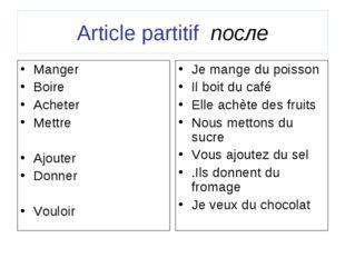 Article partitif после Manger Boire Acheter Mettre Ajouter Donner Vouloir Je