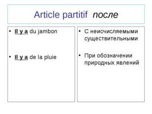 Article partitif после Il y a du jambon Il y a de la pluie С неисчисляемыми с