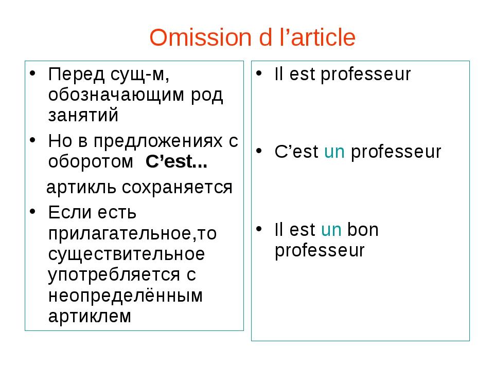 Omission d l'article Перед сущ-м, обозначающим род занятий Но в предложениях...