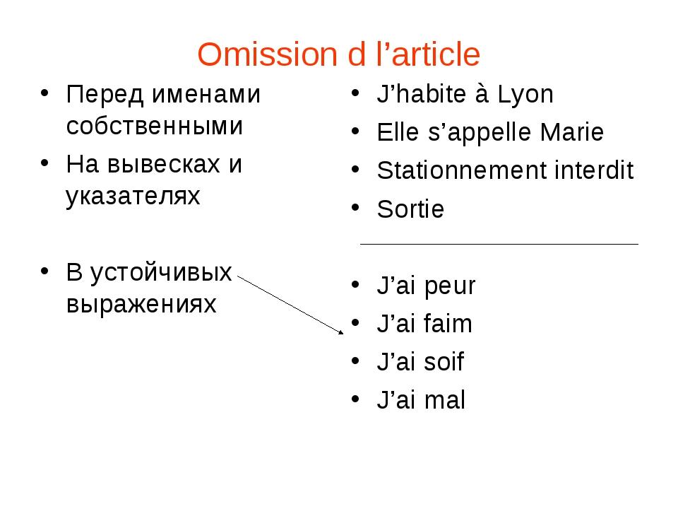 Omission d l'article Перед именами собственными На вывесках и указателях В ус...