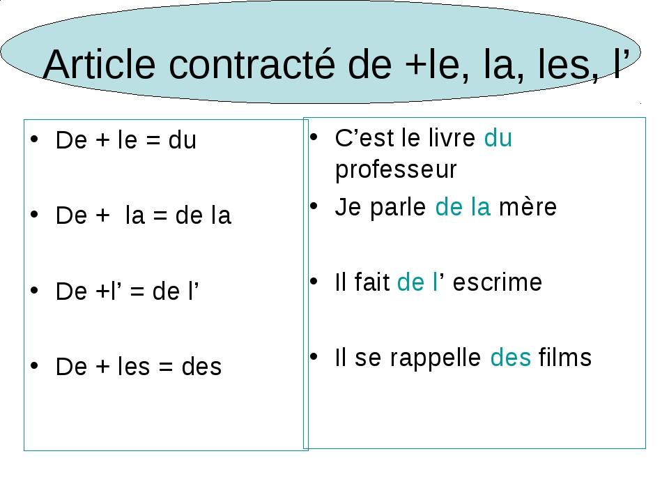 Article contracté de +le, la, les, l' De + le = du De + la = de la De +l' = d...